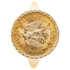 Ring Coins 2 Pesos 18 Carat Yellow Gold Estados Unidos Mexicana