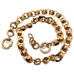 Ring & Connector Chain in 18 Karat Gold with Detachable Extender Fob, circa 1920