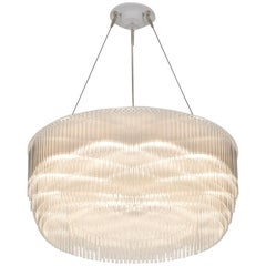 Ring, Contemporary Round Tiered Chandelier by Tom Kirk in Polished Nickel - Lrg