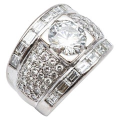 Ring Diamond 2.15 Carat HRD Certified and Baguette or Brillant Cut 2carats