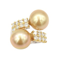 Ring Earrings Set 2-Rows Diamonds Gold South Sea Pearls Yellow Gold