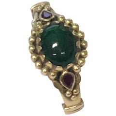 Ring, Emerald and Ruby, 18 Karat Gold