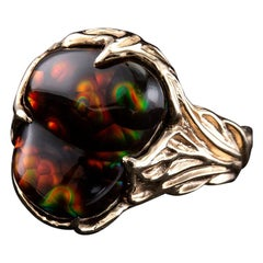 Ring Fire Agate Gold Rainbow Mexican Gemstone Agate Gift Unisex Men's