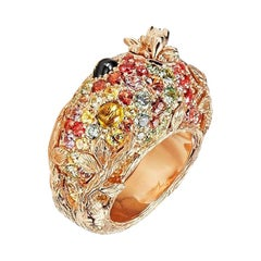 "Ring ""Fireworks"" by Bibi van der Velden Rose Gold Diamonds Multi Gems"
