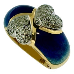 Ring, Gold, Diamond Hearts, Blue Enamel, Handmade, Unique Piece, 18 Carat Gold