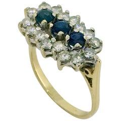 Ring, Gold, Diamond, Sapphire, 0.90 Carat Diamonds, 1970