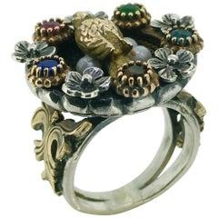 Ring, Gold, Silver, Pearl, Gemstone, Bird in Nest, Edwardian