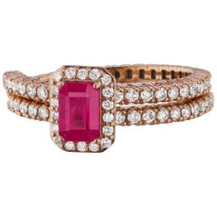 Ring in 18K Rose Gold with Ruby and Diamond