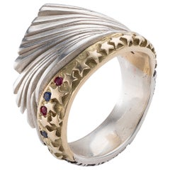 Ring in Sterling Silver, Gold, Rubies, and Sapphires by Anne Fischer, 2017