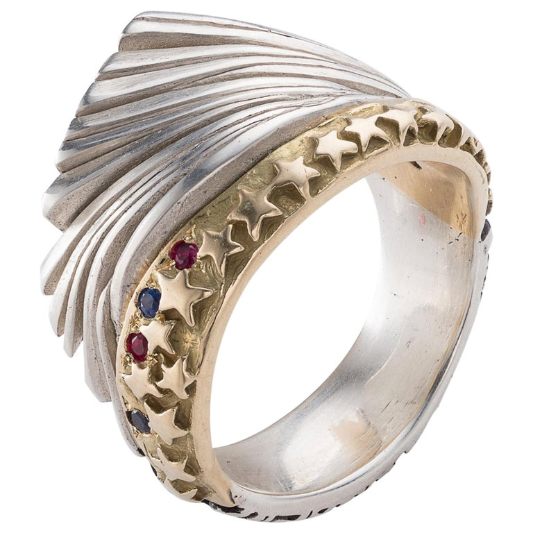 Ring in Sterling Silver, Gold, Rubies, and Sapphires by Anne Fischer, 2017 For Sale
