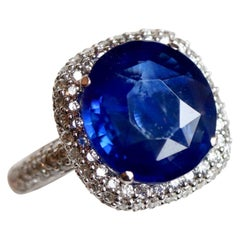 Ring in White Gold 18 Karat and Ceylon Sapphire 4.86 Carat
