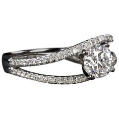 Ring in White Gold with Round Cut Diamonds 1.50 Carat G Si2