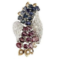 Diamond Ruby Sapphire White and Rose Gold Grapes Ring