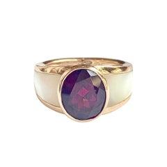 Ring Nadia Signed Mauboussin Rhodolite Garnet Mother of Pearl 18 Carat Pink Gold