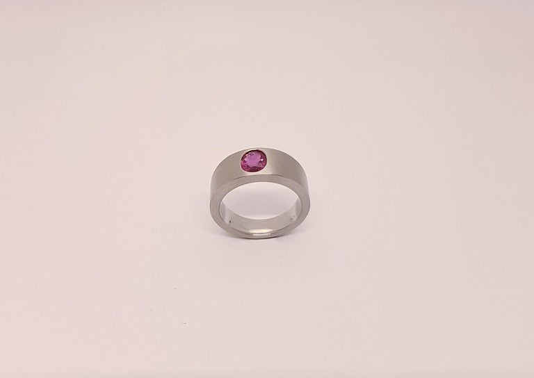 A very elegant and beautiful ring made of platinum with a natural (no heat) ruby of 1.55 carats. It is one of a kind. The Ruby comes with an AGL Zertifikat Nr. 0011446.  Ring Size 61 (European Size)