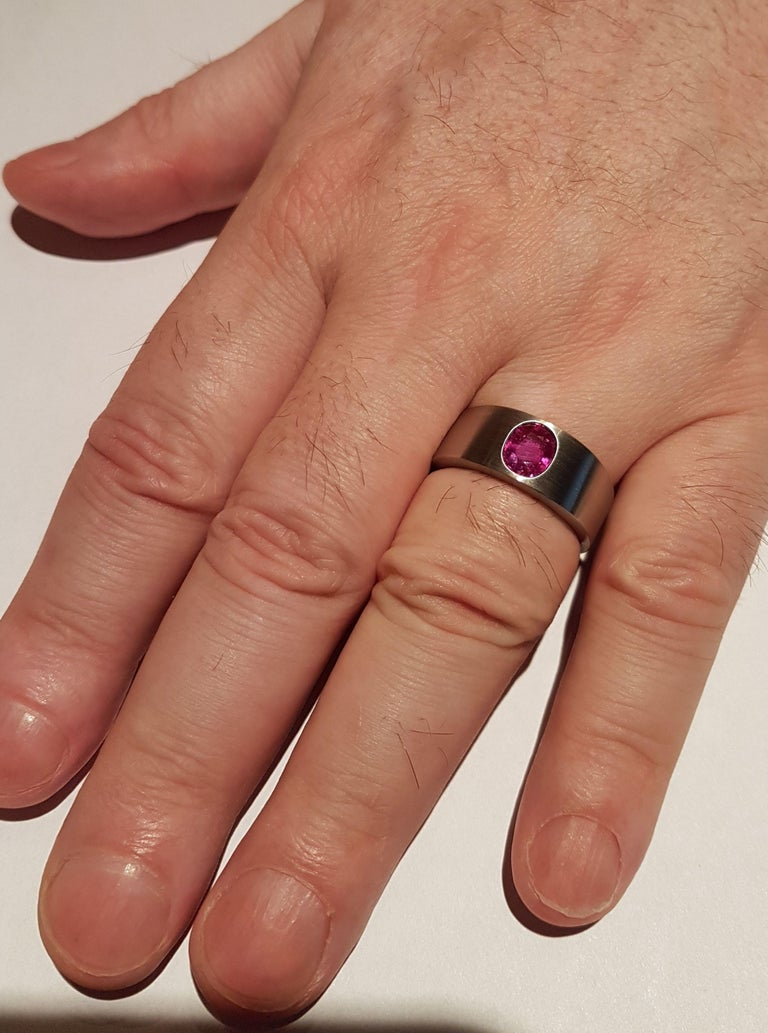 Men's Ring Natural Ruby (no heat) Platinum by Wagner Preziosen For Sale