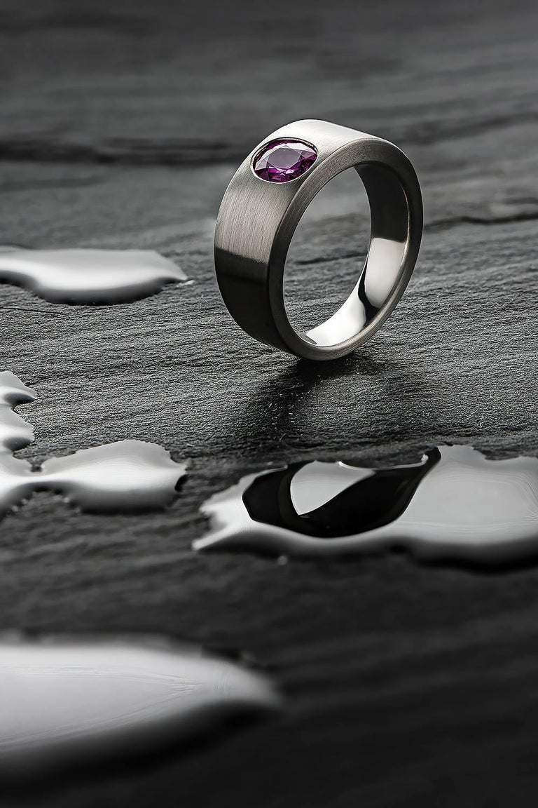 Ring Natural Ruby (no heat) Platinum by Wagner Preziosen For Sale 2