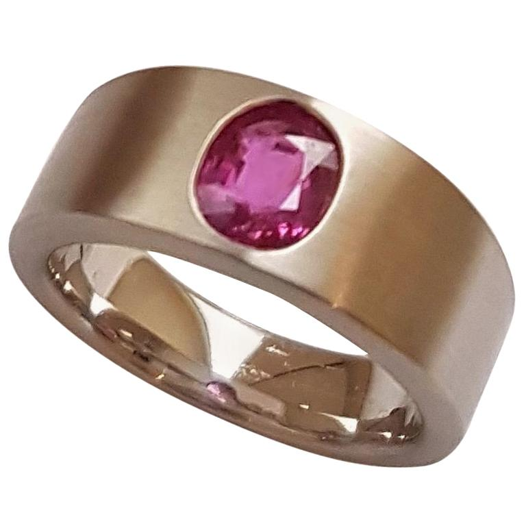 Ring Natural Ruby (no heat) Platinum by Wagner Preziosen For Sale