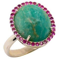 Ring of Glowing Green Amazonite Surrounded by Pink Sapphires