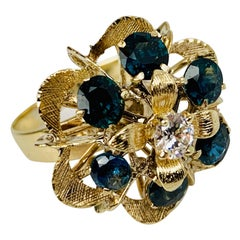 Cluster Ring with Six Sapphires 18k Yellow Gold with Florentine Finish-1960's