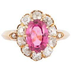 Victorian Oval Pink Spinel & Diamond Cluster Ring in 18 Carat Gold, English 1865