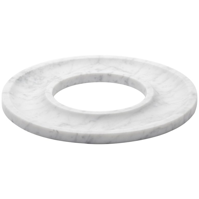 """""""Ring Tray"""" Minimalist Tray in Carrara Marble For Sale"""