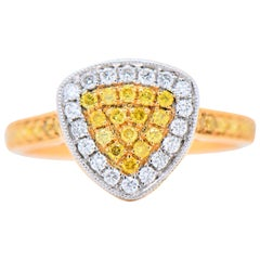 Ring Two-Tone Gold Triangle Natural Fancy Yellow Diamonds