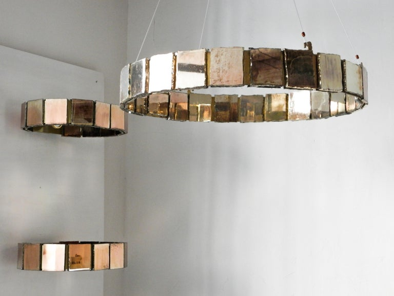 Contemporary Ring contemporary  Wall Sconce Silvered Glass handmade in tuscany italy For Sale