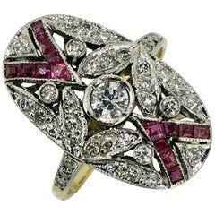 Ring, White and Yellow Gold, Antique, Art Deco Style, Diamonds and Ruby