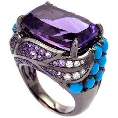 Ring White Gold Amethyst Amethyst Rose de France Turquoise 17.96 Carat Diamonds