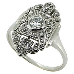 Ring, White Gold, Antique, Art Deco, Diamonds