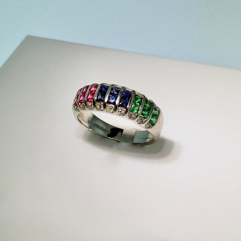 Square Cut Ring, White Gold, Diamond, Ruby, Emerald, Sapphire For Sale