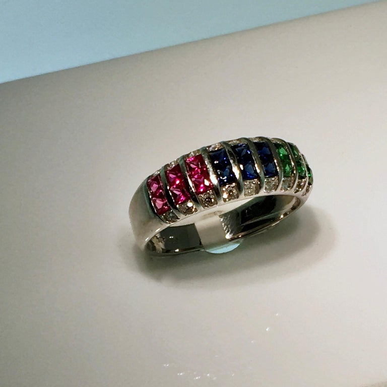 Women's Ring, White Gold, Diamond, Ruby, Emerald, Sapphire For Sale