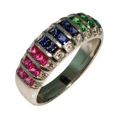 Ring, White Gold, Diamond, Ruby, Emerald, Sapphire