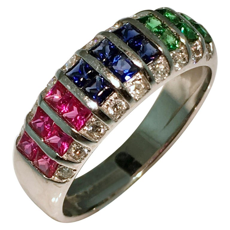 Ring, White Gold, Diamond, Ruby, Emerald, Sapphire For Sale