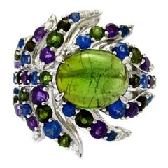 Ring White Gold Green Tourmaline Amethyst Sapphire 4.85 Carat Diamonds