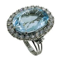 Ring, White Gold, Oval Blue Topaz 28.4 Carat, Diamonds 1.50 Carat, Unique Piece