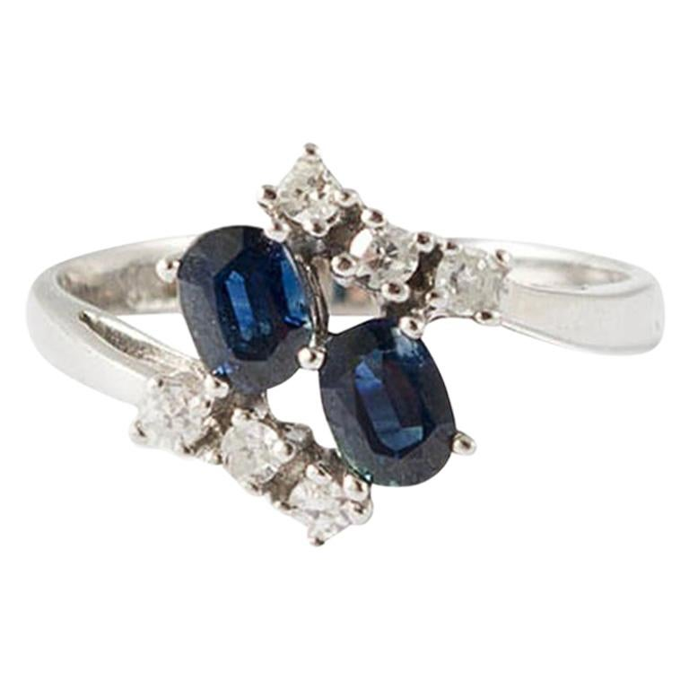 Ring White Gold Sapphires and Diamonds For Sale