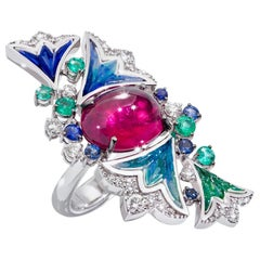Ring White Gold White Diamonds Emeralds Sapphires Amethyst Decorated MicroMosaic