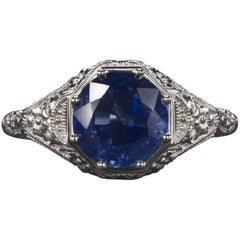 Ring with Blue Sapphire Round Cut 2.38 Carat Vintage White Gold
