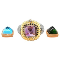 Ring with Diamonds and 3 Interchangeable Pieces Topaz, Tourmaline Precious Stone
