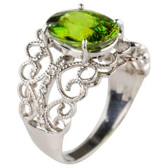 Ring with Exotic Rare Collector's Gem in White Gold with Diamonds