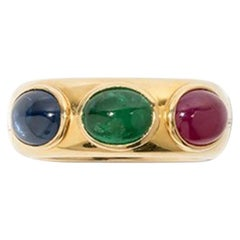 Ring with Ruby, Sapphire and Emerald Cabochon, 750 Yellow Gold