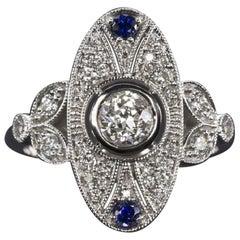 Ring with Sapphire and Diamonds, European Cut Art Deco Style 14 Karat White Gold