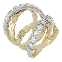 Ring Yellow and White Gold 18 Karat with White Diamond Color G - VS Handmade