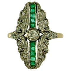 Ring, Yellow and White Gold, Art Deco Style, Diamond, Emerald, new and unworn