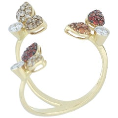 Ring Yellow Gold 18 Karat Brown and White Diamond VS Color G and Sapphires