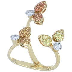 Ring Yellow Gold 18 Karat White Diamond VS color G Yellow and Orange Sapphires
