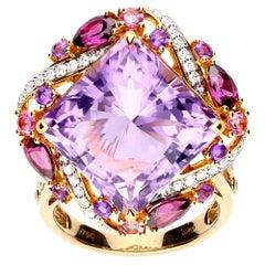 Ring Yellow Gold Amethyst 14.60 Carat Rhodolite, Pink Tourmaline and Diamonds