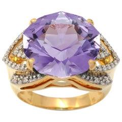 Ring Yellow Gold Amethyst 7.00 Carat Diamonds